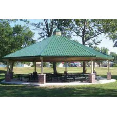 24 foot Single Tier Octagon Shelter All Steel 24-ga Precut Metal Roof