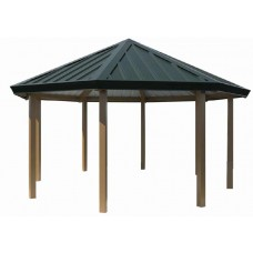 16 foot Single Tier Octagon Shelter All Steel 24-ga Precut Metal Roof