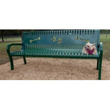 6 foot LEXINGTON BENCH WITH BACK PERFORATED LASER CUT PAW PRINT BONE